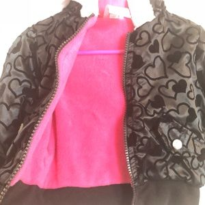 Black heart toddler jacket with pink lining
